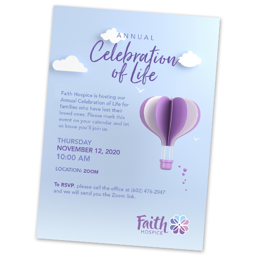 Hospice Celebration of Life Invitations